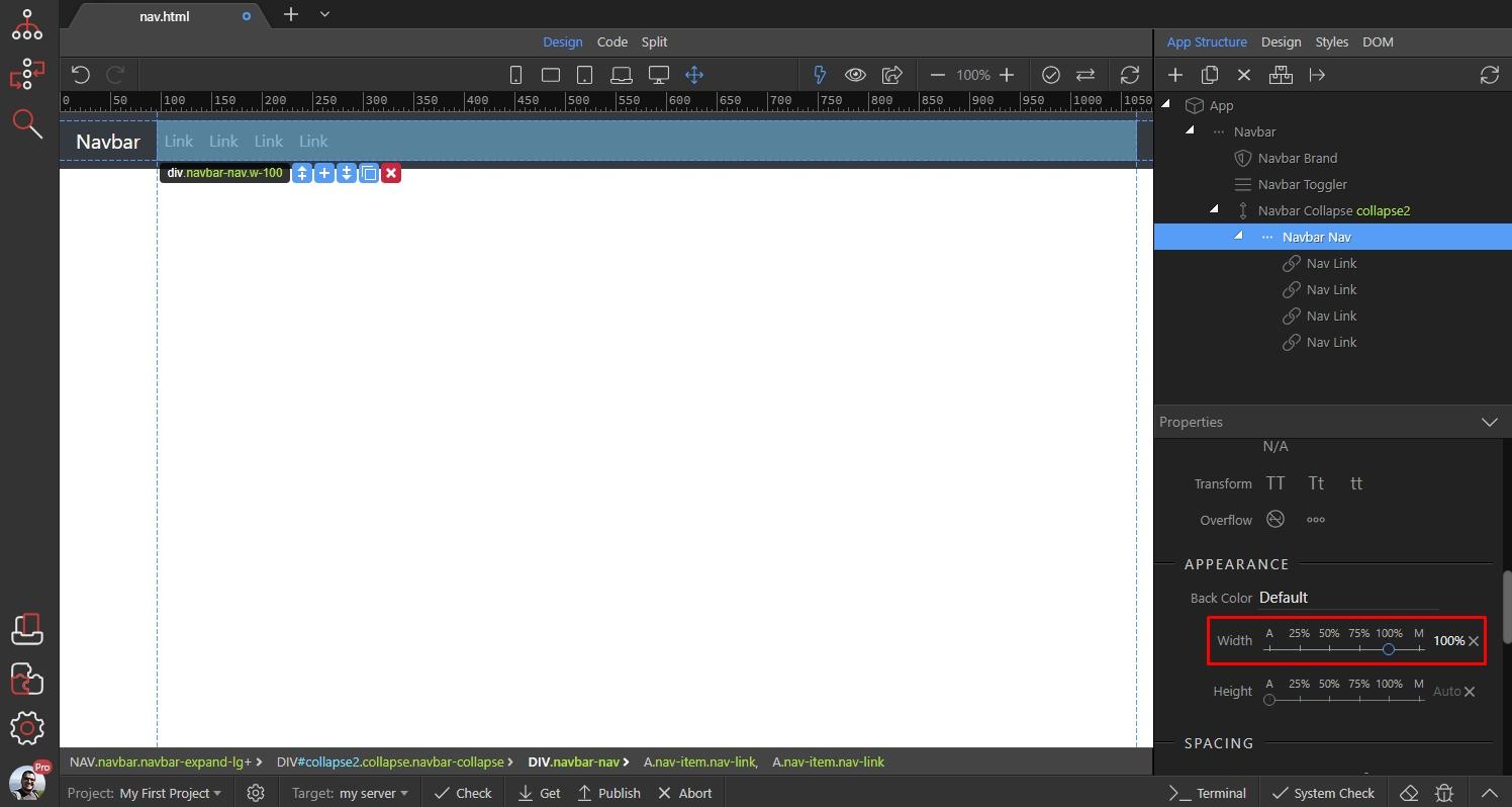 Navigation Align Options - Bootstrap 4 Visual Designer
