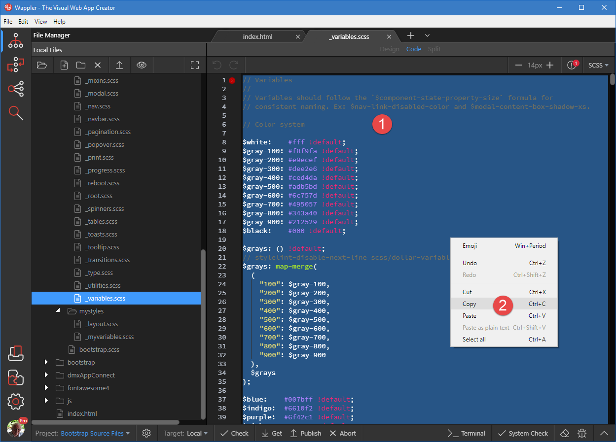 Wappler Documentation - Using Bootstrap Source Files