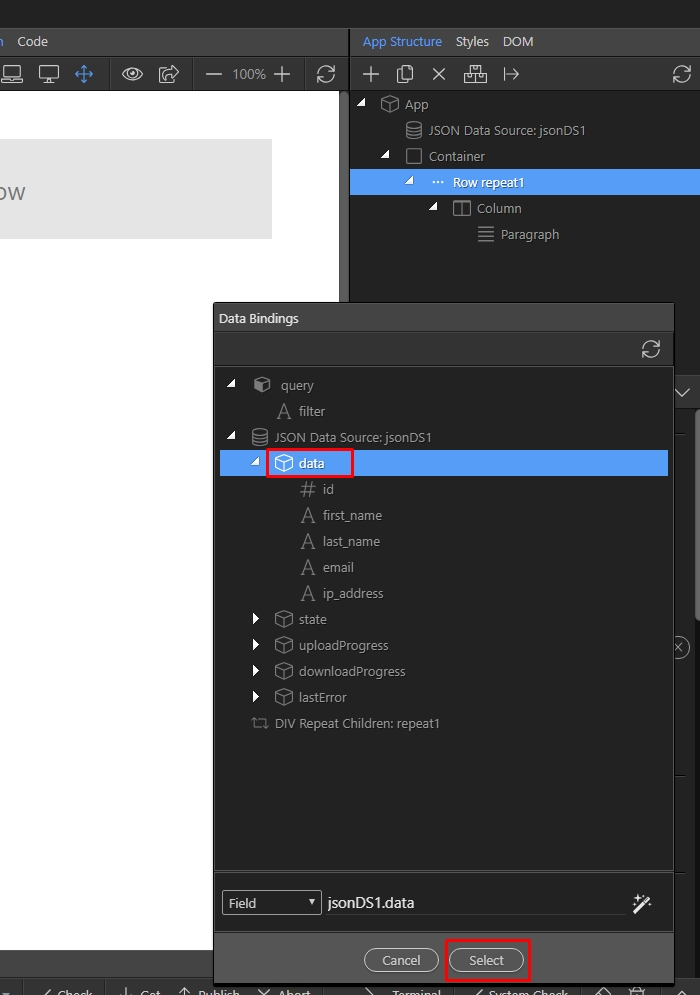 Wappler Documentation - Working with JSON Data
